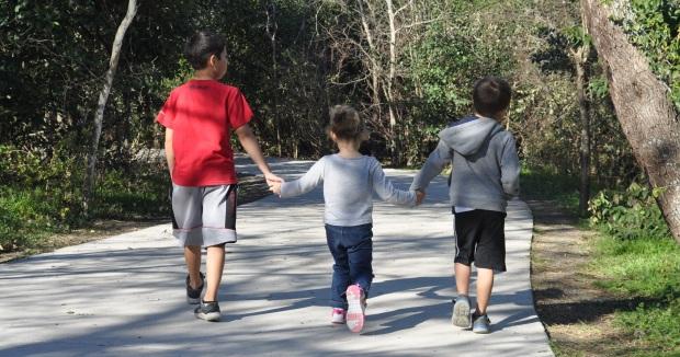 Kids Walking in Park