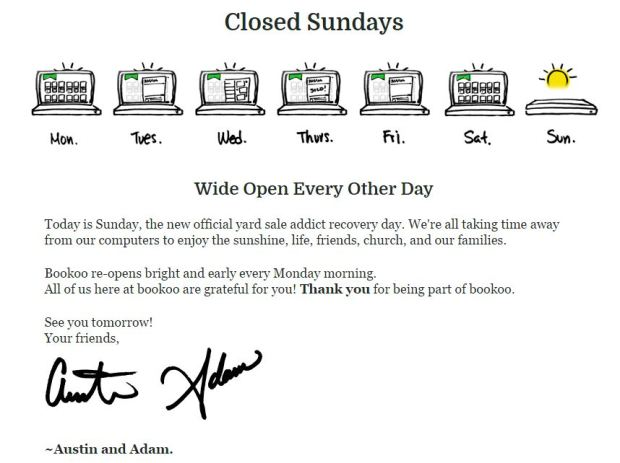 Bookoo Closed Sundays